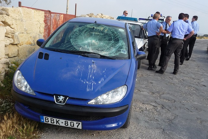 CABS car damaged by poachers in Malta