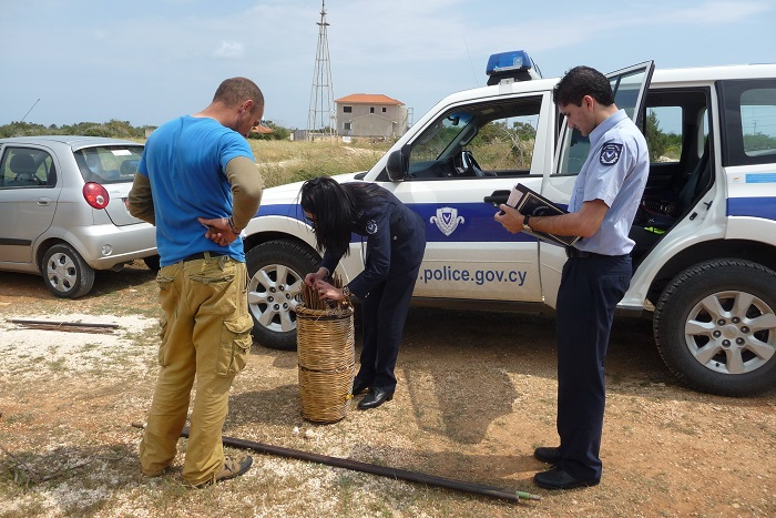 Police seize limesticks and net poles.