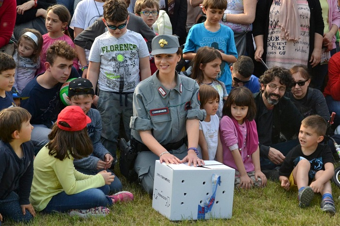 Bird release with police and school children