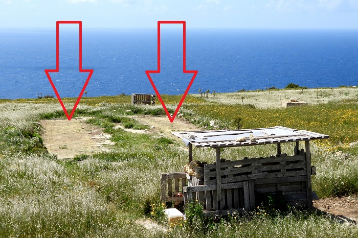 Finch trapping site on Gozo - both nets are marked