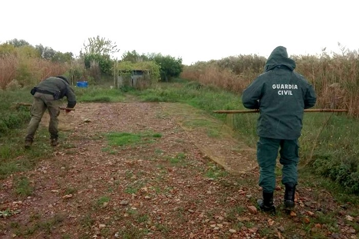 Spanish police dismantling nets at a trapping site